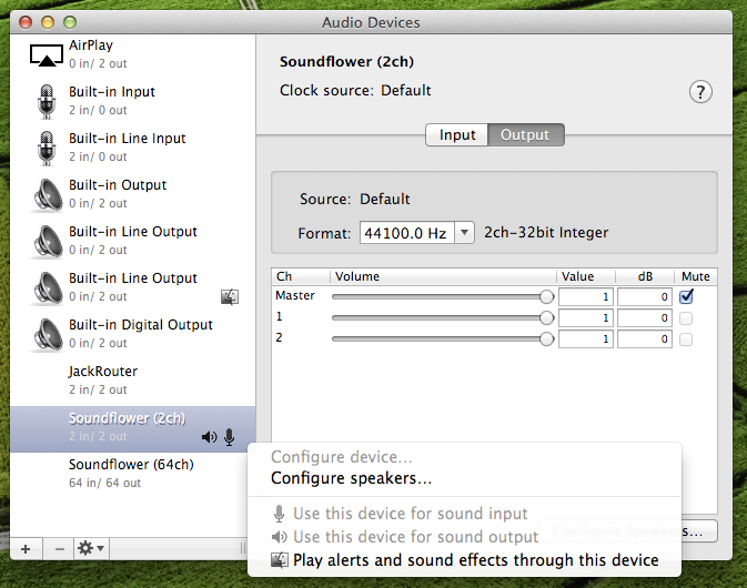 Live-stream system audio from OSX Mountain Lion with Icecast2 and