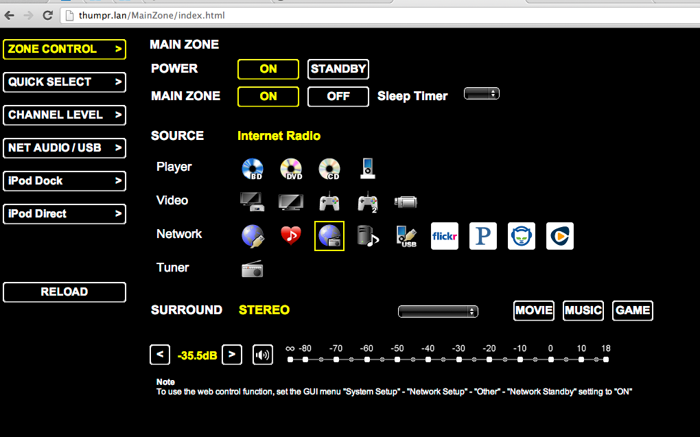 Denon web interface